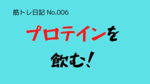 (筋トレ日記-No.006)プロテインを飲むか否か?